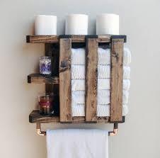 wood towel rack rustic shelving