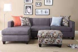 Small Size Sectional Furniture Set With Chaise And Some Throw Pillows An  Ottoman Floral Pattern L