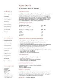 Warehouse Resume Template Warehouse Assistant Cv Template Job Description  Sample Stock Printable
