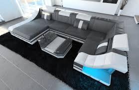 Sofa Wohnlandschaft Köln U Form Grau Weiss