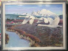 the painting is of three trumpeter swans flying over the skagit delta in the wiley slough area although it s not of a scene that actually exists it being a