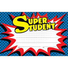 Star Student Certificates Superhero Star Student Certificates