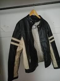 wilsons leather black white stripe moto racing m julian jacket mens m
