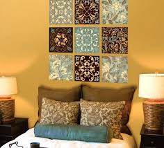 light blue and brown wall art