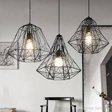 american industrial wrought iron cage pendant light chandelier loft vintage pendant lamp modern bar living room lamp white pendant light red pendant light
