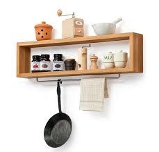 diy wooden kitchen shelf with rail