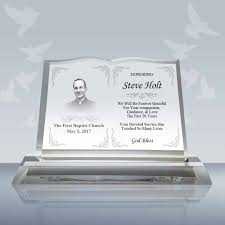 pastor retirement gift crystal book plaque 004 design b
