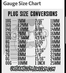Plug Gauge Size Chart Pin By Christy Rodeheaver On Accessories Ear Gauge Sizes