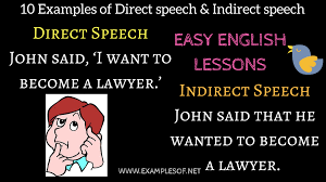 10 Examples Of Direct And Indirect Speech - Easy English Lessons ...