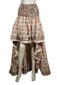 Designer Skirt Ajpw 2pc Womens Hi Low Skirt Recycled Sari Tiered Flared Ruffel