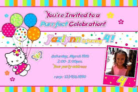 Teddy Bear Party Invitation Wording Card For Christening Hello Kitty