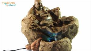lucky buddha sitting on rock with led light indoor water fountain fountainmania com you