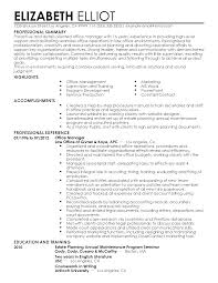Professional Summary Office Manager Resume