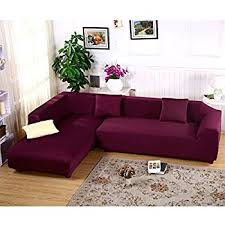 premium quality sofa covers for l shape 2pcs polyester fabric stretch slipcovers 2pcs pillow