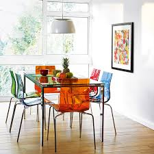 colourful contemporary dining frost table and gel chairs coloured dining room chairs