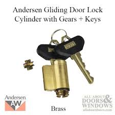 andersen frenchwood gliding door lock cylinder w gears and keys reachout no tail brass