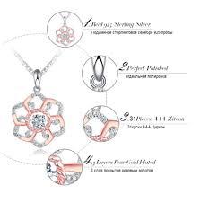 High <b>Quality 925</b> Sterling <b>Silver Elegant</b> Flower Pendant Necklace ...