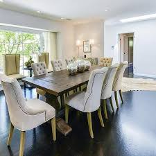 nailhead dining chairs dining room. Trestle Dining Table With Tufted Chairs Nailhead Room