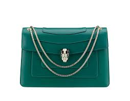 shoulder bag serpenti forever in calf leather in emerald green with light gold plated serpenti head