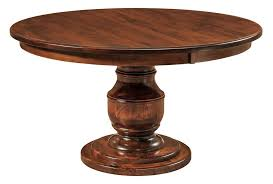amish traditional round pedestal dining table 48 54 60