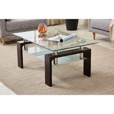 high gloss modern rectangle coffee table black wood clear glass dreams outdoors