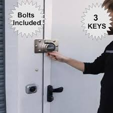 SHED GARAGE DOOR LOCK AND HASP STAPLE 3 Keys High Security Side