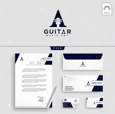 Stationery Letterhead Guitar Music Initial A Logo Template Vector Illustration And