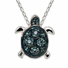 teenytiny enhanced blue diamond accent turtle pendant in sterling silver 17