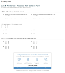 print reduced row echelon form definition examples worksheet