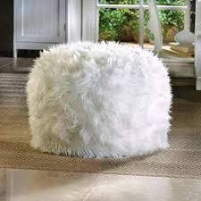 White Fluffy Pouf