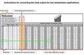 Radiator Output Chart Heat Output Calculator Zehnder Group Uk