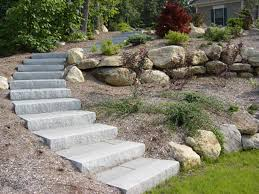 Diy concrete step French Door Garden Paver Stairs Ct Birch Mountain Earthworks Stone Steps Stairs Landings In Connecticut Outdoor Granite Stairs