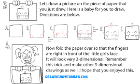 learn how to draw cartoon girl holding up art on piece of paper 3d paper