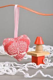 interior pendants handmade decorative wall hanging pincushion heart sewn of cotton with ribbon madeheart