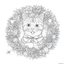 Coloriage Mandala Noel Chat Adulte Dessin