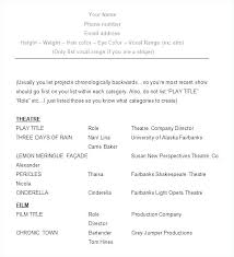 Theatre Resume Template Adorable Actor Resume Template Word Musical Theatre Resume Template Acting