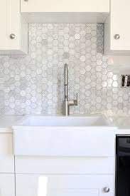 Install Wall Tile Backsplash Unique How To Install A Marble Hexagon Tile Backsplash Home Improvement