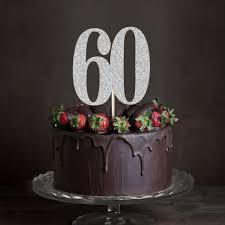Goldsilverblack Glitter 60 Cake Toppersixty Anniversary Decor