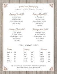 Price Sheet Photography Template - Photography Price List ...