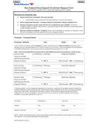 Employee Direct Deposit Authorization Agreement Download Bank Of America Direct Deposit Form Pdf