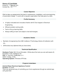 Resume Resume Sample Format For Tech Electrical Fresher
