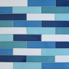 Blue Floor Tiles Kitchen Ceramic 2x8 Subway Tile Blue Splash Kiln Collection Modwalls Tile