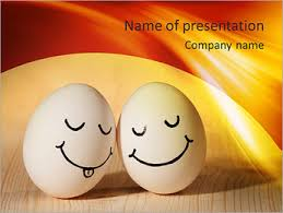 Two Eggs With Drawn Smiley Faces Powerpoint Template Infographics Slides