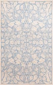 fox vine blue wool hooked rug