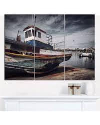 designart old fishing boat boat canvas wall art 3panels on boat canvas wall art with amazing deal designart old fishing boat boat canvas wall art 3panels