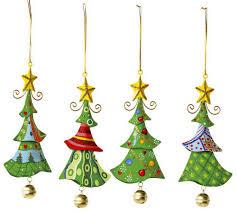Metallanhänger Tannenbaum Weihnachtsartikel Dekoartikel 4er Set In Tannenbaum Form Schöne Weihnachtsdekoration Am Weihnachtsbaum Fenster Oder