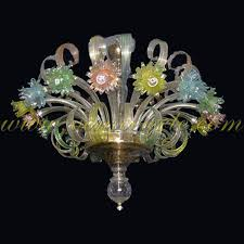 murano glass chandelier colorful