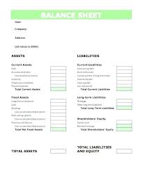 Accounting Balance Sheet Template Year End Balance Sheet Template