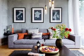 good looking burnt orange sofa interior designs with industrial chic candleholder gray rug