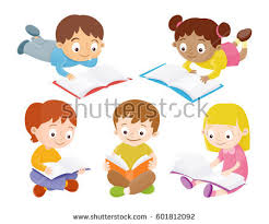 kids reading books isolated characters set vector ilration